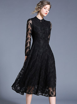 Elegant Perspective Lace Feather A Line Dress