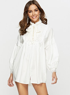 Casual Tie-collar Lantern Sleeve Loose Mini Dress