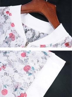 Lace Print O-neck Short Sleeve Zipper Coat