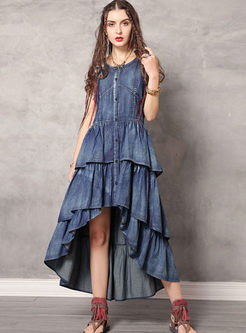 O-neck Sleeveless Asymmetric Denim Dress