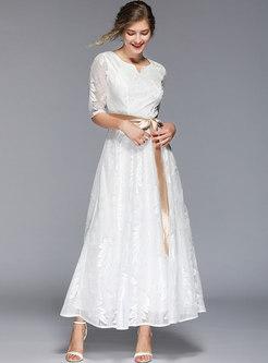 Elegant V-neck Tied Lace High Waist White Maxi Dress