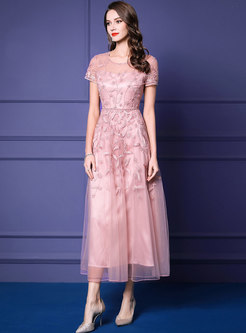 Elegant Pink Embroidered Beaded Lace Maxi Dress