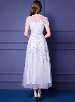 Stylsih Lace Embroidered Pure Color High Waist Maxi Dress