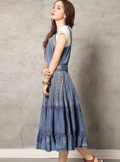 Vintage Embroidered Falbala Denim Dress