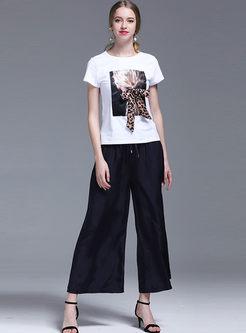 Brief Leopard Bowknot Print T-shirt