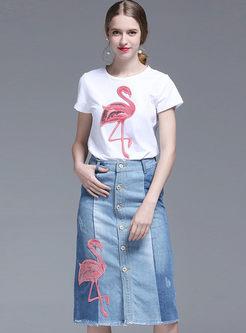 O-neck Animal Print T-shirt & Denim Slim Skirt