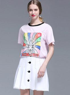 High Waist Solid Color Pleated Skirt