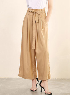 Pure Color High Waist Tied Wide Leg Pants