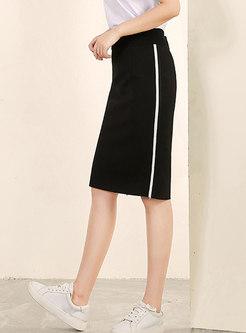 Stylish Color-blocked Split Sheath Skirt