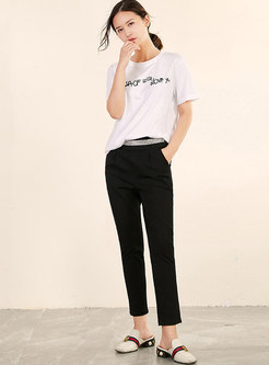 Trendy Black Diamond Slim Pencil Pants