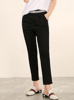 Trendy Black Diamond Slim Pencil Pants
