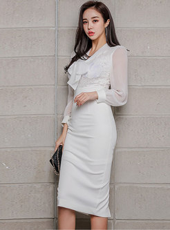 Sexy Lace Splicing White Bowknot Bodycon Dress