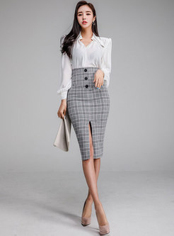 Elegant Solid Color Blouse & Plaid Split Sheath Skirt