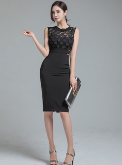Black Sleeveless Mesh Patchwork Bodycon Dress