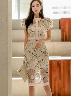 Mock Neck Lace Ruffle Sleeve Bodycon Dress