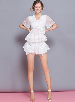 V-neck Embroidered Slim Falbala Top & Shorts