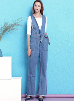 Slash Neck Slim T-shirt & Belted Denim Overalls