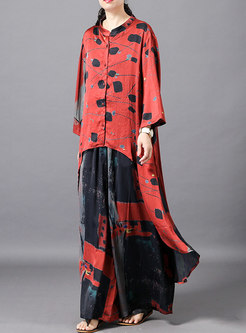 Casual Print Stand Collar Asymmetric Top & Wide Leg Pants