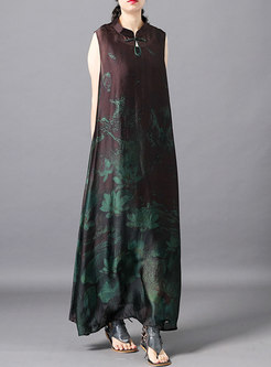 Vintage Print Stand Collar Loose Maxi Dress