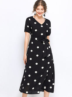 V-neck Short Sleeve Polka Dot Dress