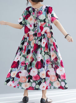 Casual O-neck Short Sleeve Print Shift Dress