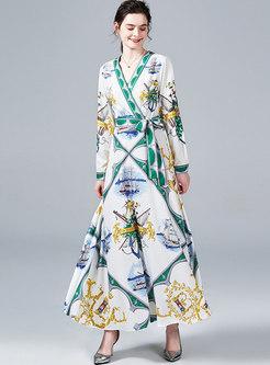 Chic Print V-neck Belted Hem Maxi Dress