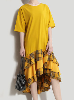 Plaid Splicing O-neck Asymmetric Loose Dress