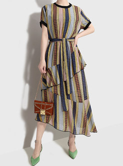 Chic Striped O-neck Belted Asymmetric Maxi Dress