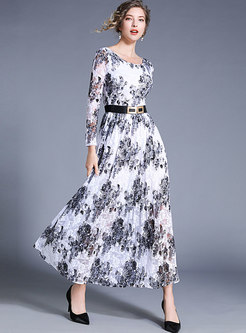 Lace Print O-neck Belted Slim Maxi Dress