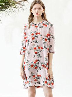 Stylish Print O-neck Flare Sleeve Shift Dress