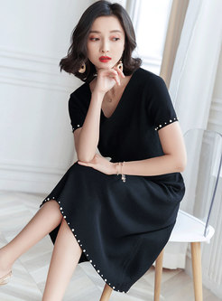 Chic V-neck Solid Color Knitted Two Piece Dress