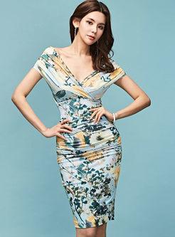 Sexy V-neck Sleeveless Print Slit Dress