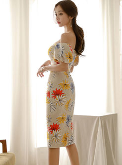 Sexy Slash Neck Lantern Sleeve Slim Dress