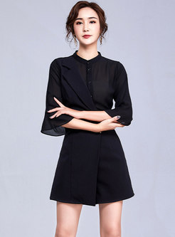 Solid Color Splicing Irregular Button Black Rompers