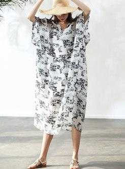 Casual Print V-neck Loose Maxi Dress