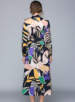 Print Lapel Single-breasted Belted A Line Dress