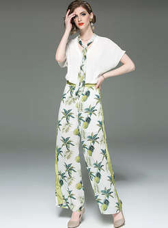 Stylish V-neck Tie T-shirt & Print Wide Leg Pants