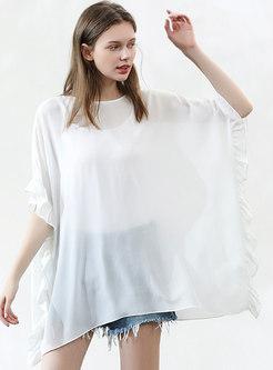 Pure Color Half Sleeve Tie-waist Falbala T-shirt