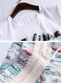 Casual Sequins O-neck T-shirt & Print Wide Leg Pants