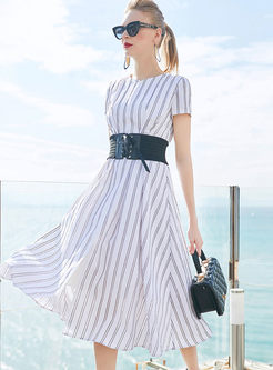 Brief V-neck Striped Waist Big Hem Dress