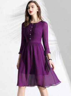 Pure Color Flare Sleeve Slim Midi Dress