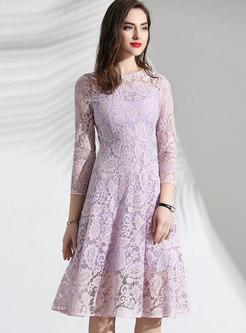 Brief Lace O-neck Slim A Line Dress
