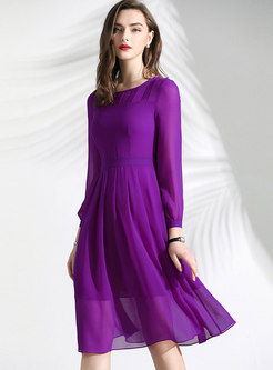 Brief Solid Color O-neck Slim Skater Dress