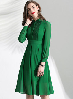 Brief Lace O-neck Slim A Line Dress