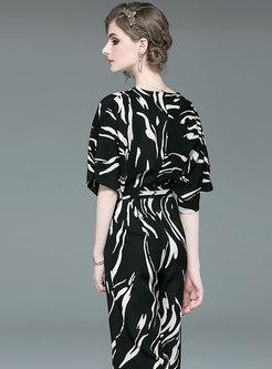 Stylish Print V-neck Belted Slim Jumpsuit