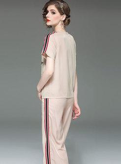 Casual Print T-shirt & Striped Splicing Wide Leg Pants