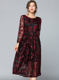 Trendy Jacquard Embroidered Mesh Shift Dress