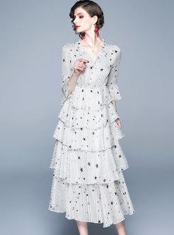 Stylish V-neck Stars Falbala Chiffon Skater Dress