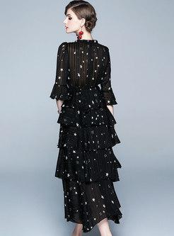 Fashion Print Splicing Big Hem Skater Dress