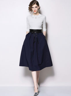 Casual Slim Knitted Top & Brief Skater Skirt